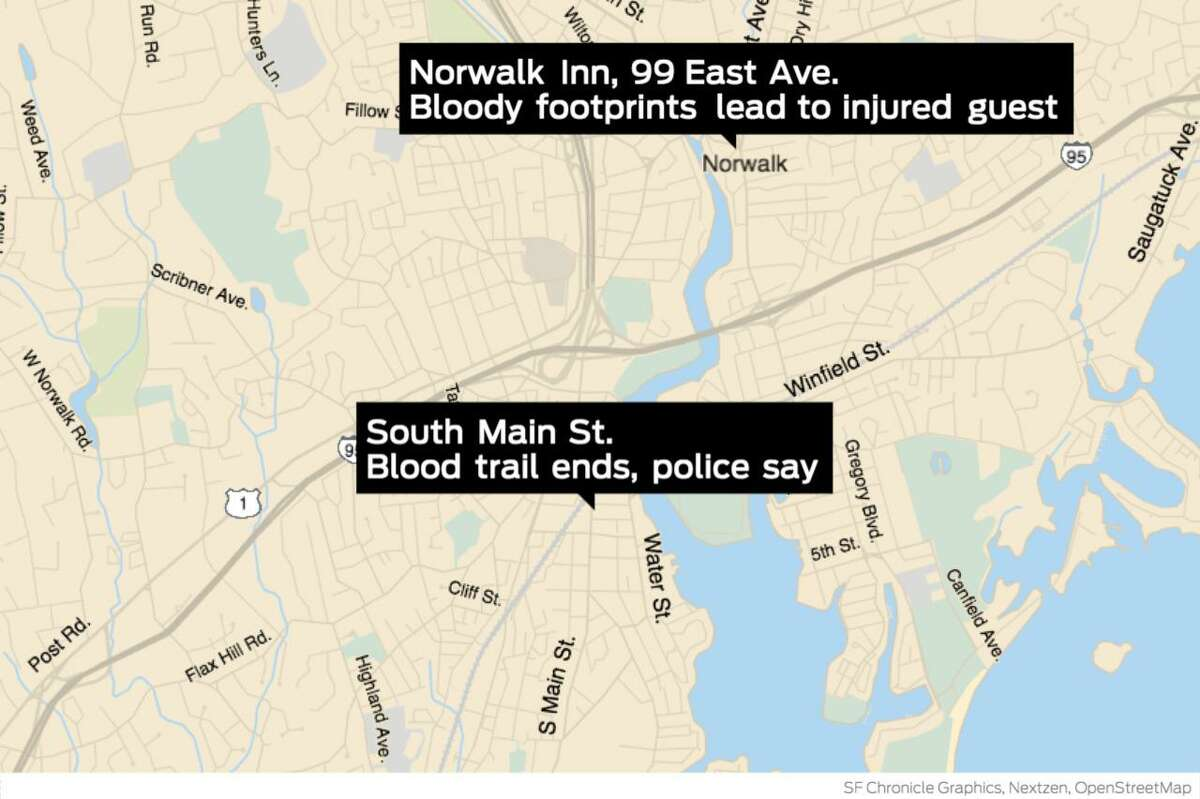 Police followed a blood trail from the Norwalk Inn, 99 East Ave., to South Main Street in South Norwalk - more than two miles away - after staff at the hotel found bloody footprints around 10:15 p.m. Saturday, Oct. 17.