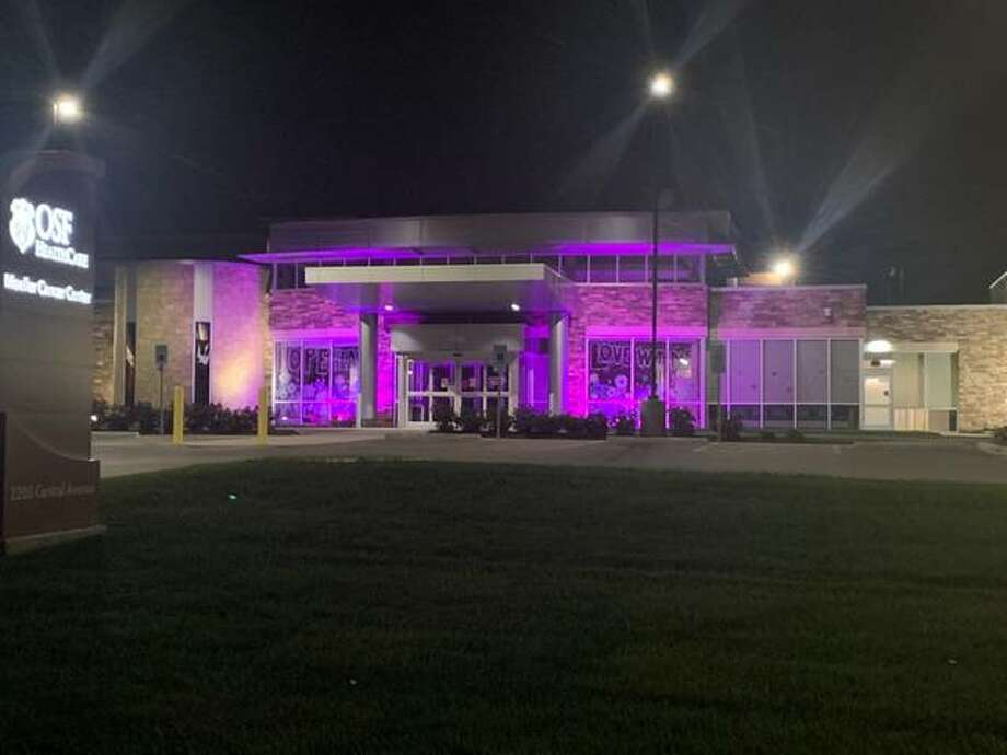 OSF Moeller Cancer Center in Alton in pink lights for Breast Cancer Awareness Month and the Light the Fight campaign