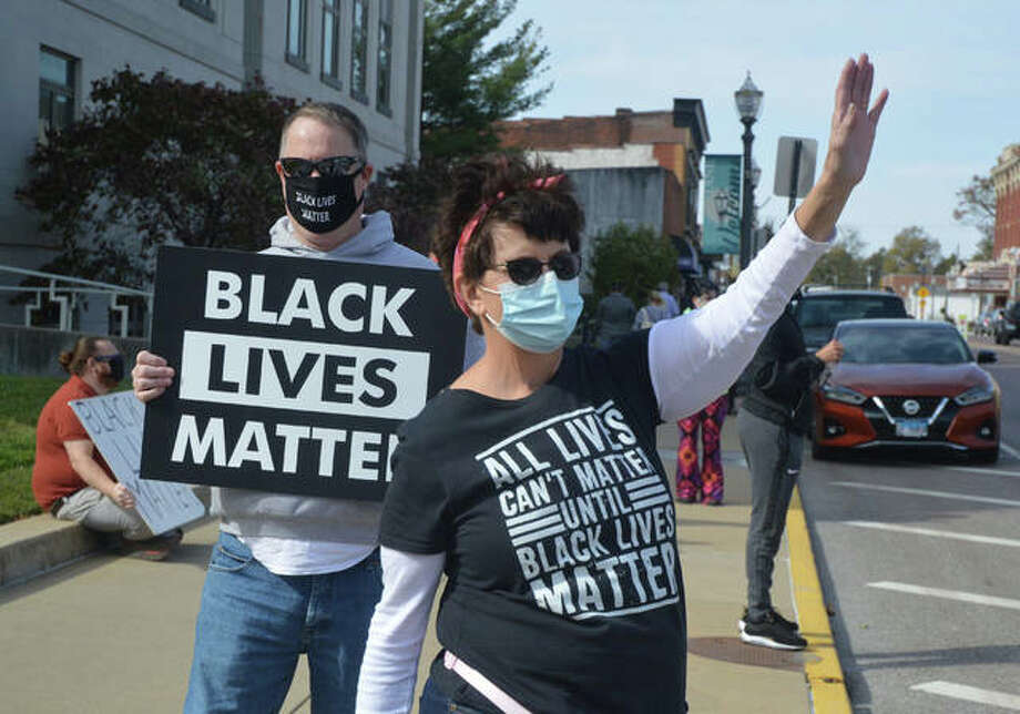 Deb Lovekamp, right, was one of the organizers of Saturday's Black Lives Matter protest in downtown Edwardsville. Photo: Scott Marion | The Intelligencer