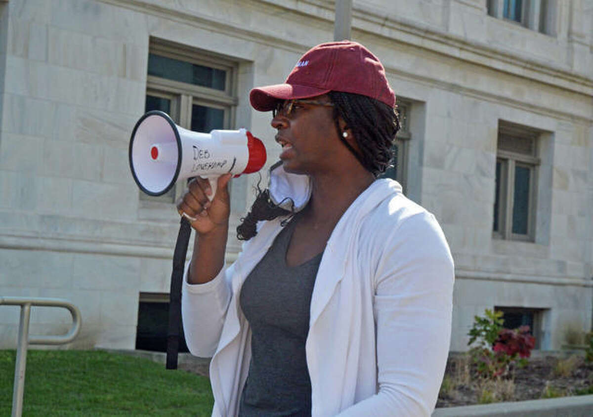 Edwardsville native Anya Covington speaks during Saturday's Black Lives Matter protest at the Madison County Courthouse.