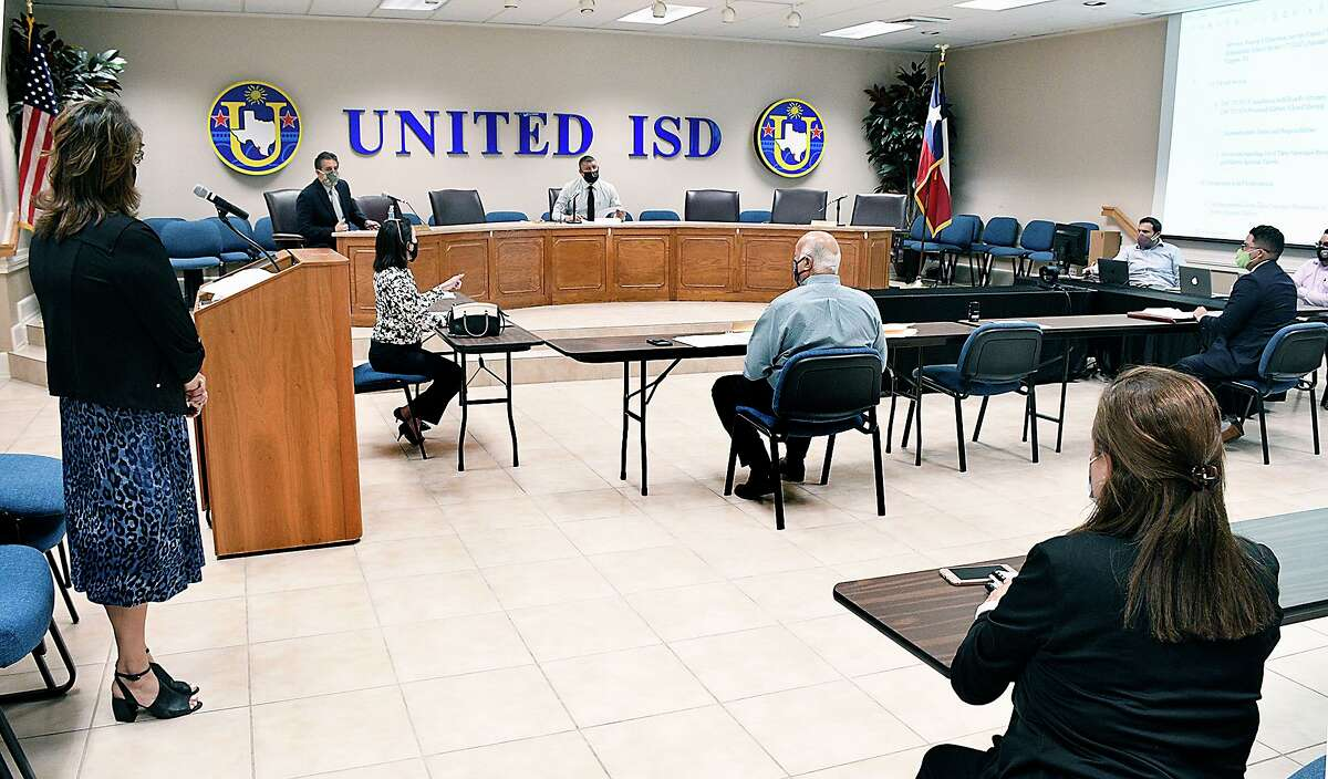 United ISD board members participate in a special-called meeting, Tuesday, August 4, 2020.