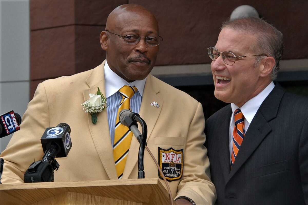 Floyd Little, left and Bill Santillo at the 2011 dedication of the Floyd Little Athletic Center in New Haven.