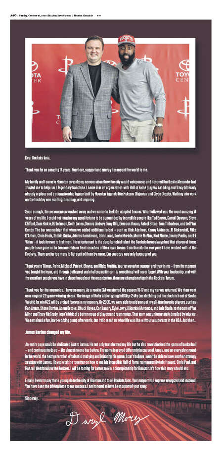 Daryl Morey took out a full-page ad in the Houston Chronicle on Sunday, Oct. 18, 2020, days after resigning as the Houston Rockets' general manager. Photo: Houston Chronicle