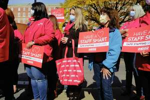 Albany Med nurses and their supporters hold a rally outside the hospital on Sunday, Oct. 18, 2020, in Albany, N.Y. The nurses held the rally to call attention to what they saw are problems with protective equipment for staff in the hospital and protocol problems. (Paul Buckowski/Times Union)