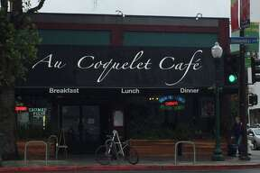 The exterior of Au Coquelet, a popular Berkeley cafe that shuttered Friday after 46 years in operation.