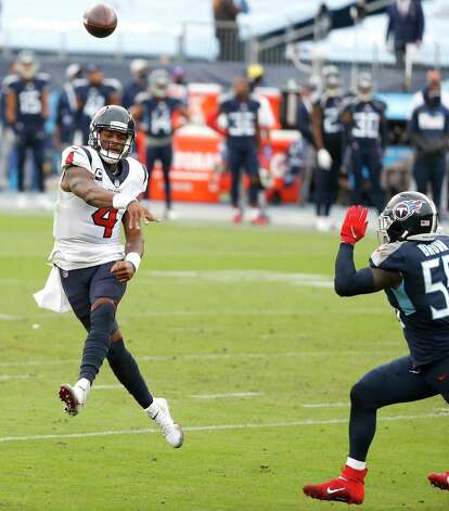 Houston Texans quarterback Deshaun Watson (4) throws a pass against Tennessee Titans inside linebacker Jayon Brown (55) during the third quarter of an NFL football game at Nissan Stadium on Sunday, Oct. 18, 2020, in Nashville. Photo: Brett Coomer, Staff Photographer / © 2020 Houston Chronicle
