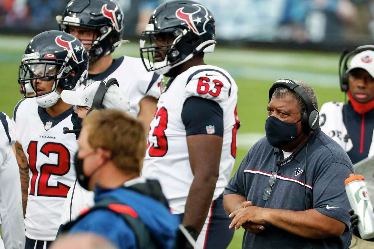 Houston Texans interim head coach Romeo Crennel works the sidelines during the fourth quarter of an NFL football game at Nissan Stadium on Sunday, Oct. 18, 2020, in Nashville.