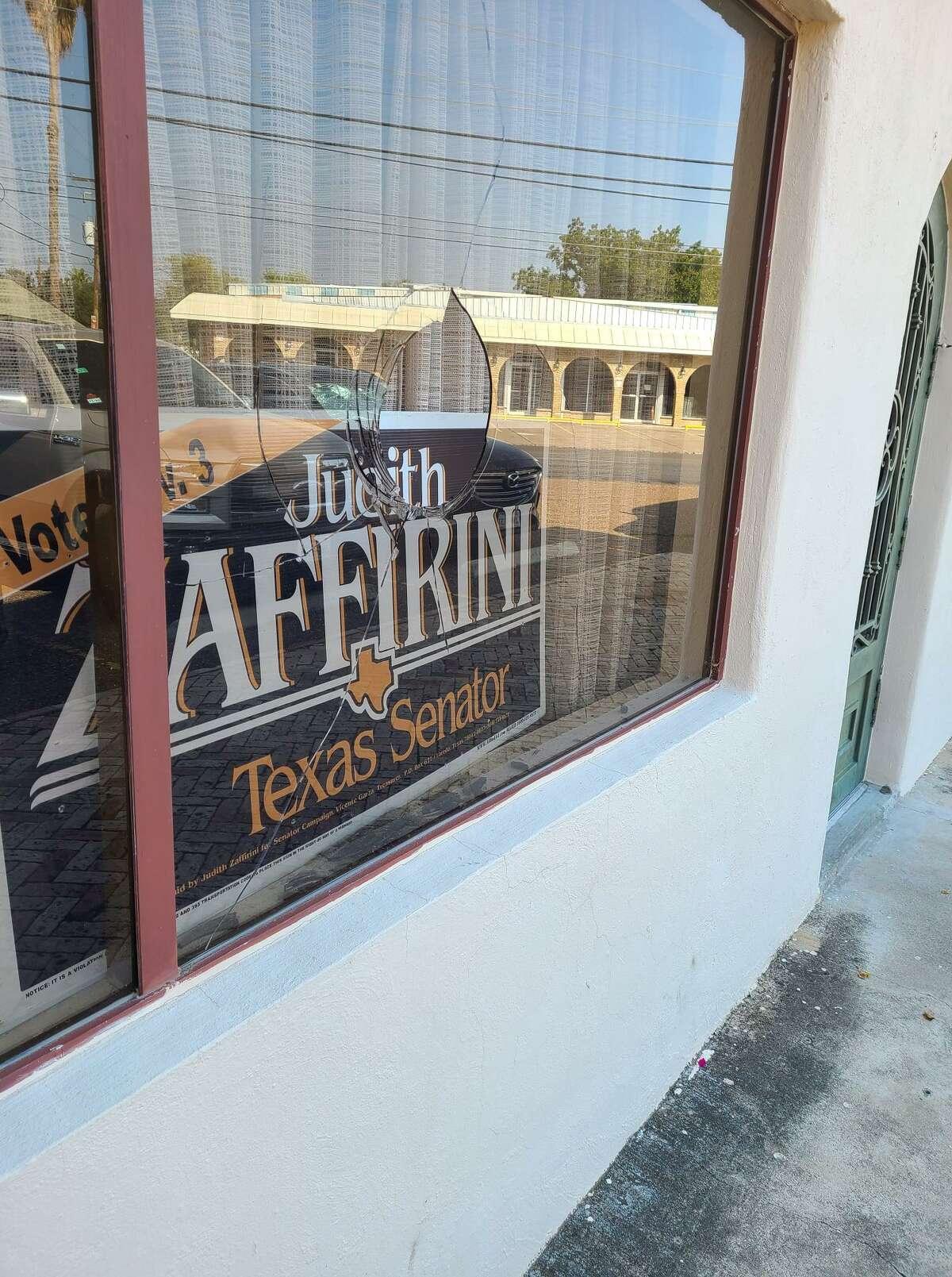 Shown is the damage to a window at Texas Senator Judith Zaffirini's campaign headquarters.