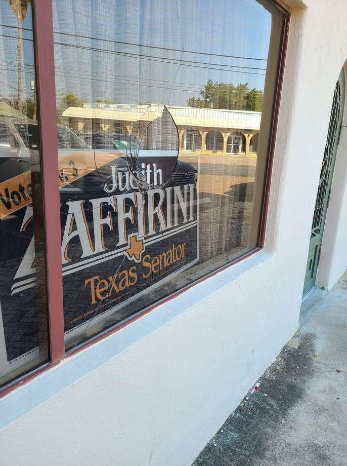 Shown is the damage to a window at Texas Senator Judith Zaffirini's campaign headquarters. Photo: Facebook