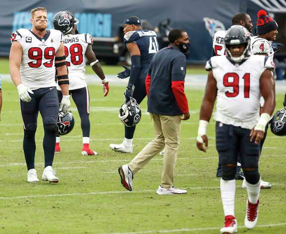 Houston Texans defensive end J.J. Watt (99) walks off the field after the Texans lost to the \Tennessee Titans in overtime of an NFL football game at Nissan Stadium on Sunday, Oct. 18, 2020, in Nashville. Photo: Brett Coomer, Staff Photographer / © 2020 Houston Chronicle