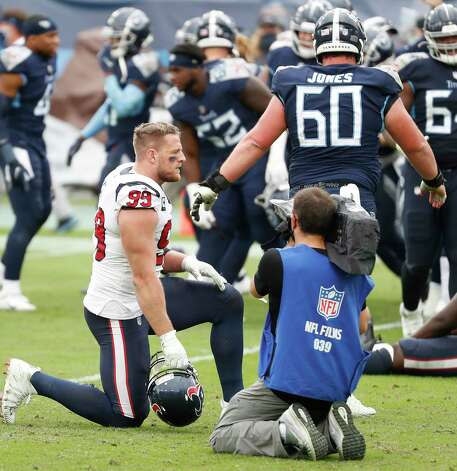 Houston Texans defensive end J.J. Watt (99) kneels on the field after the Tennessee Titans beat the Texans in overtime of an NFL football game at Nissan Stadium on Sunday, Oct. 18, 2020, in Nashville. Photo: Brett Coomer, Staff Photographer / © 2020 Houston Chronicle