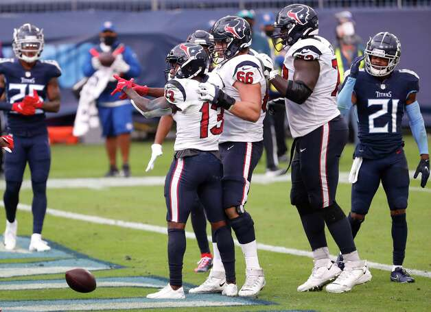 Houston Texans wide receiver Brandin Cooks (13) celebrates his 1-yard touchdown reception against the Tennessee Titans during the fourth quarter of an NFL football game at Nissan Stadium on Sunday, Oct. 18, 2020, in Nashville. Photo: Brett Coomer, Staff Photographer / © 2020 Houston Chronicle