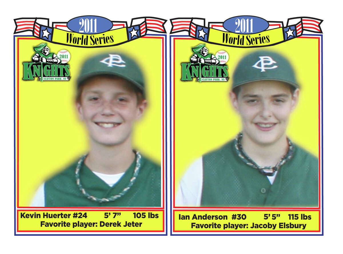 Kevin Huerter, left, and Ian Anderson went to the Cal Ripken World Series in 2011 and these baseball cards were featured in the Times Union and on the Youth Sports blog. (Joyce Bassett / Times Union)