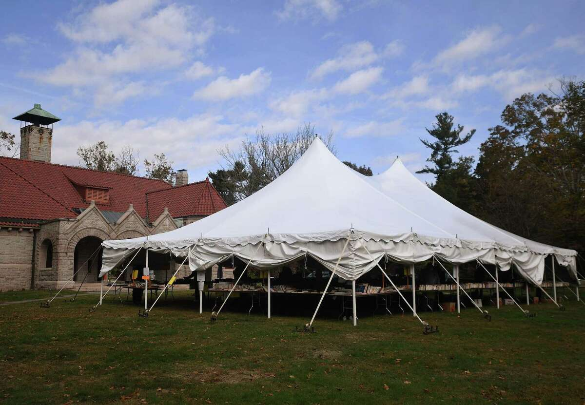 The Small Fall Book Sale takes place under a tent outside the Pequot Library in the Southport section of Fairfield.