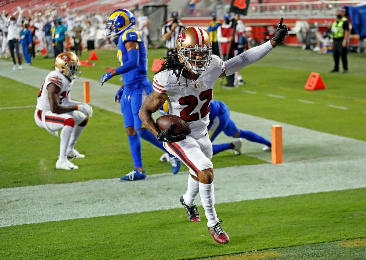 San Francisco 49ers' Jason Verrett celebrates his 3rd quarter interception in the end zone against Los Angeles Rams during NFL game at Levi's Stadium in Santa Clara, Calif., on Sunday, October 18, 2020.