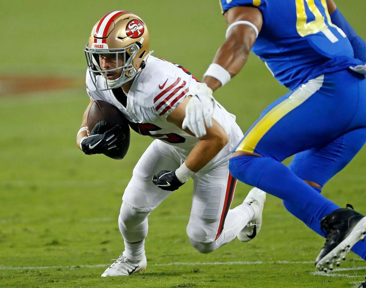 San Francisco 49ers' Trent Taylor gains a first down on a 2nd quarter catch against Los Angeles Rams during NFL game at Levi's Stadium in Santa Clara, Calif., on Sunday, October 18, 2020.