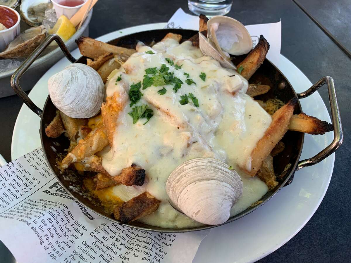 The chowder fries, similar in composition to disco fries or poutine but with chowder, at the Sea Level Oyster Bar in Salem.