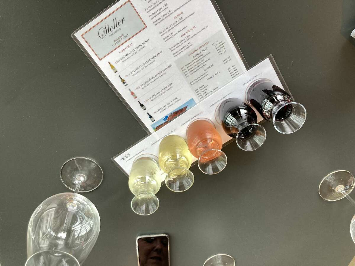 A tasting flight from the Stoller Family Estate in Oregon, part of Carlo DeVito's country-wide winery tour.
