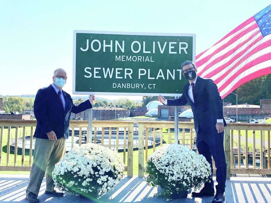"HBO comedian John Oliver secretly visited Danbury to cut the ribbon on the ""John Oliver Memorial Sewer Plant."" Photo: Contributed Photo/Mayor Mark Boughton's Facebook / Contributed / The News-Times Contributed"