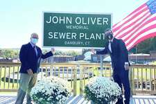 "HBO comedian John Oliver secretly visited Danbury to cut the ribbon on the ""John Oliver Memorial Sewer Plant."""