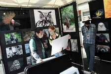 Stamford's Philip Schweiger and Katie Haas browse photos from Bruce Franklin's Fine Art Kingdom booth at the Stamford Downtown Arts & Crafts on Bedford Street event in Stamford, Conn. Sunday, Oct. 18, 2020. The arts and crafts show and sale returned for a second time as Bedford Street closed down to traffic to allow folks to browse more than 20 stands and enjoy outdoor dining with extended outdoor patio cafes. Local and regional vendors displayed a variety of work including paintings, photography, sculpture, candles, garments, jewelry, hats and gloves, and much more.