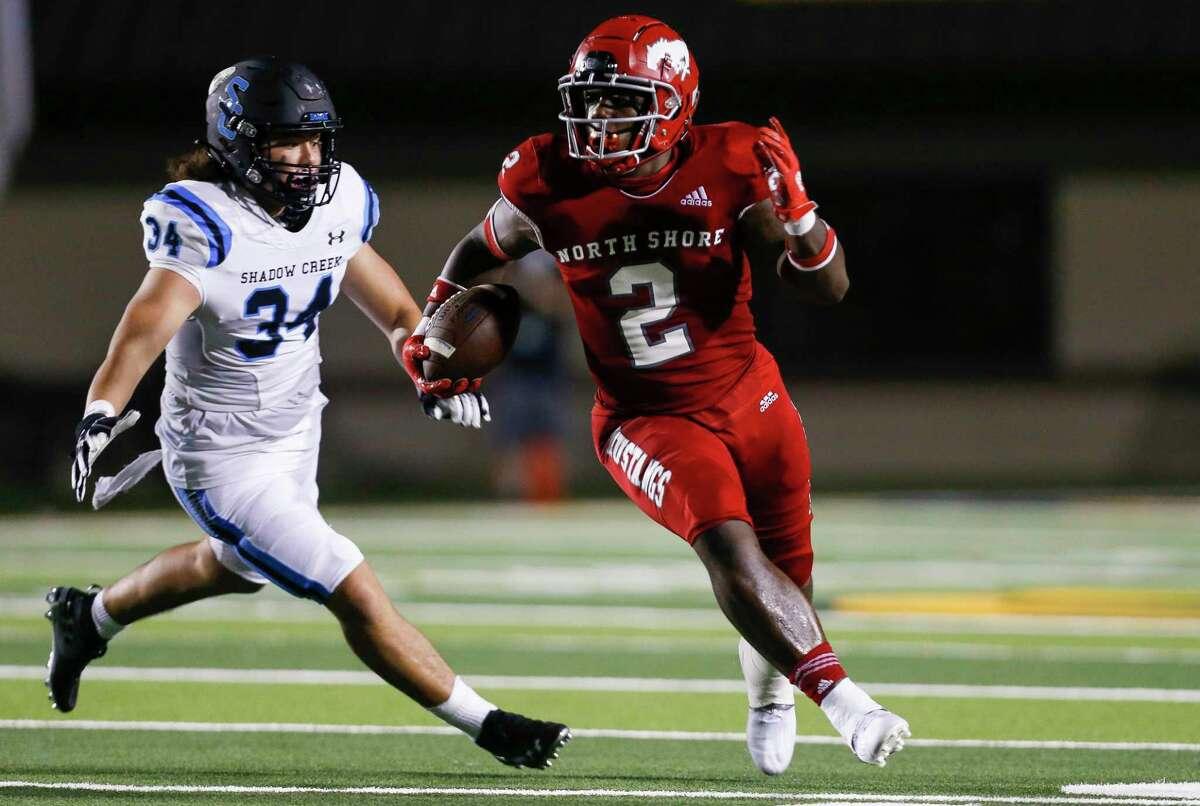 North Shore receiver Shadrach Banks, returning a punt against Shadow Creek, has committed to sign with Texas A&M.