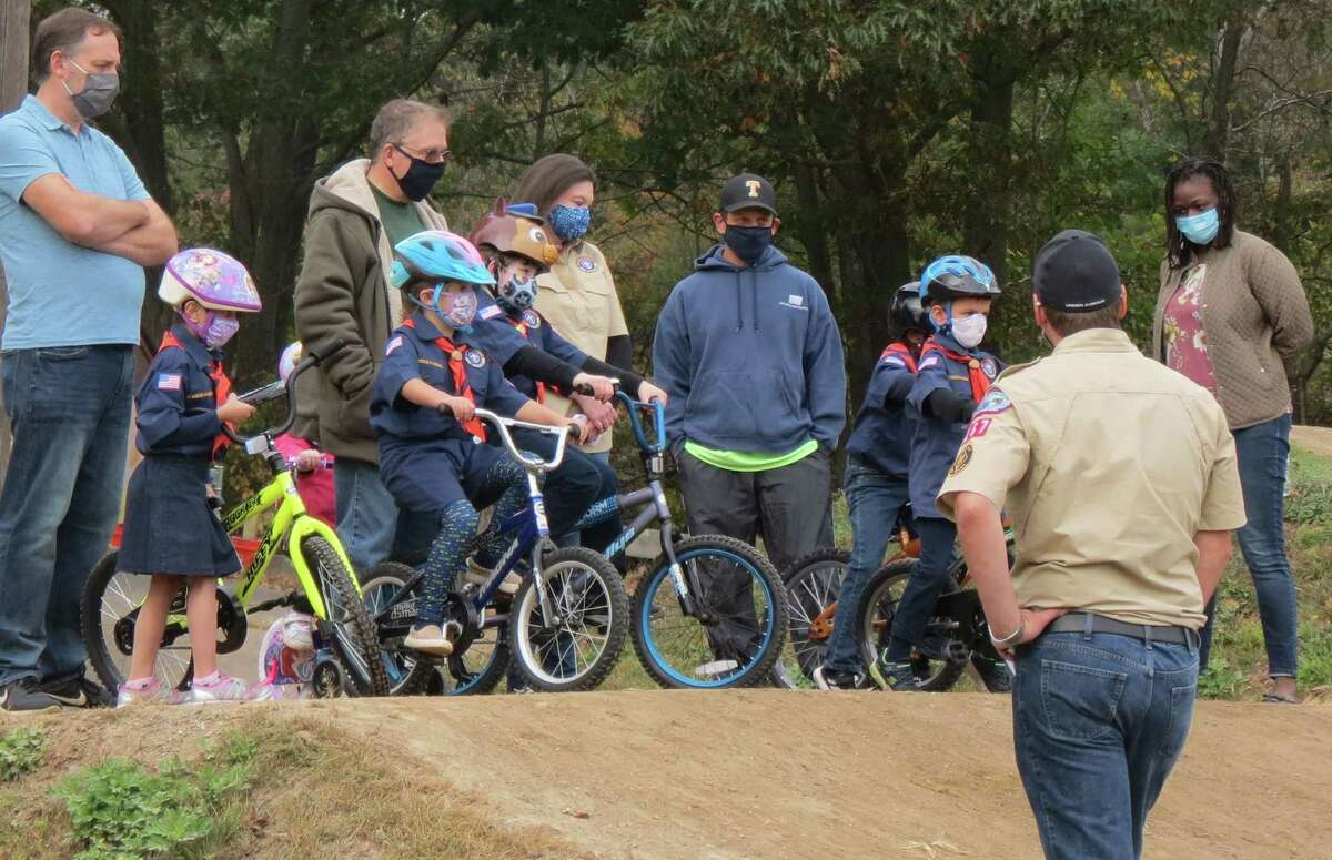 Cub Scout Pack 167 held its Bike Safety Rodeo on Sunday, Oct. 11, at Indian Ledge Park. The Trumbull Bicycle Police spoke with the scouts about the rules of the road, hand signals, proper helmet fit and demonstrated their bikes. There were obstacle courses set up practicing important bicycle skills like Stopping on a Dime, the Turtle Race and Slalom/Zigzag. Tony's Bike & Sports, located in Milford, came out and held a safety check station, inspecting each scout's bicycle for things like fit, tire pressure, chains and brakes. The scouts then enjoyed a complimentary free ride at the Trumbull BMX track. The pack is are now accepting K-5 boys and girls living in Trumbull and surrounding areas. For more information, contact Margaret Luebbert at pack167membership.com.