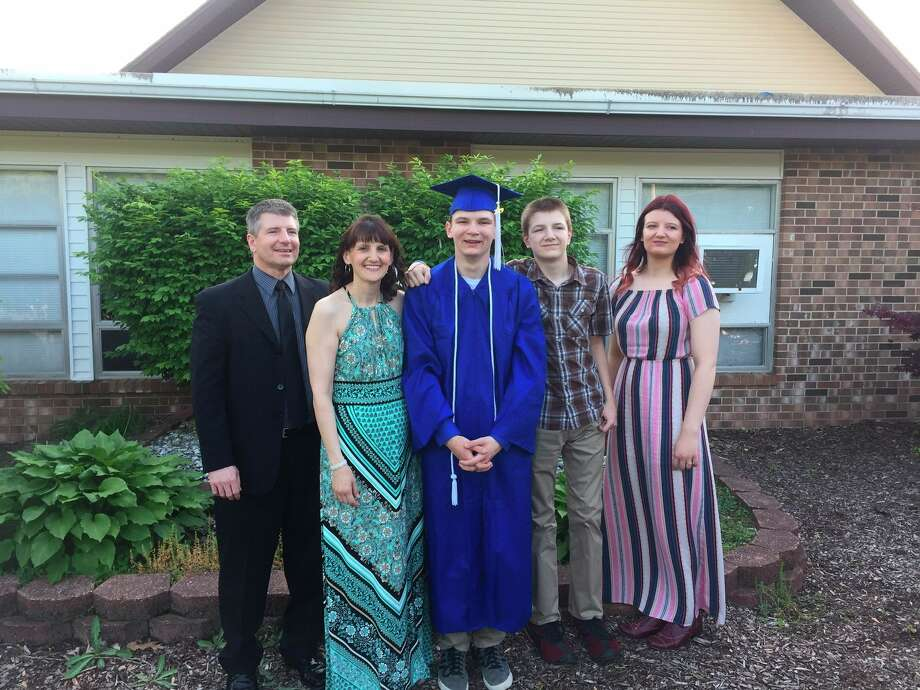 Pictured, from left, are David, Christa, Joshua, Caleb and Rebecca Krohn after Joshua's graduation from Midland Christian School in 2019. (Photo provided/David Krohn)