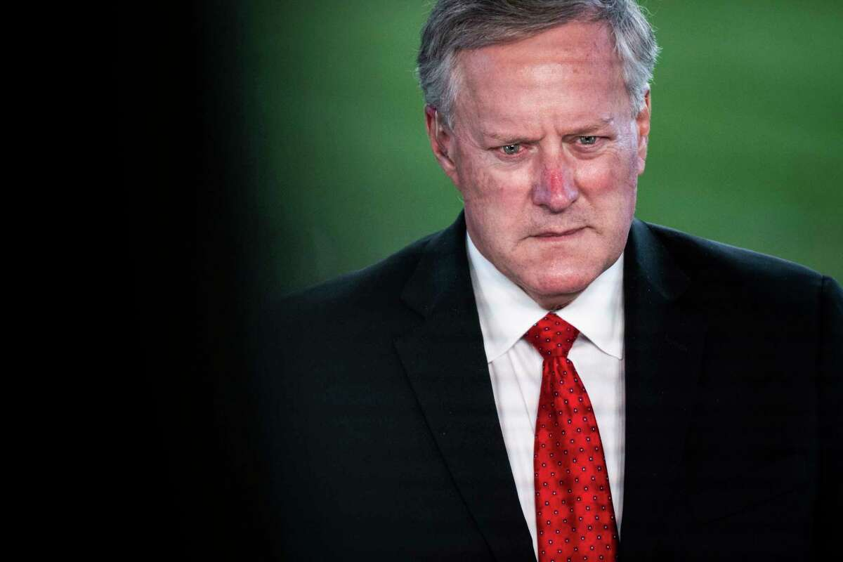 White House Chief of Staff Mark Meadows speaks during a television interview outside of the West Wing on Oct. 7.