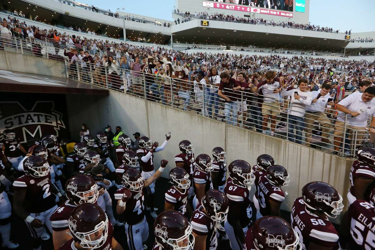 Fans in the student section cheer as the Mississippi State Bulldogs take the field prior to a game against the Arkansas Razorbacks at Davis Wade Stadium on Oct. 03, 2020, in Starkville, Miss.