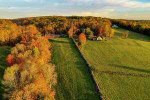 An aerial view of fall foliage in Kent on Oct. 15, 2020.