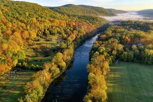 An aerial view of the Housatonic River in Kent on Oct. 15, 2020.