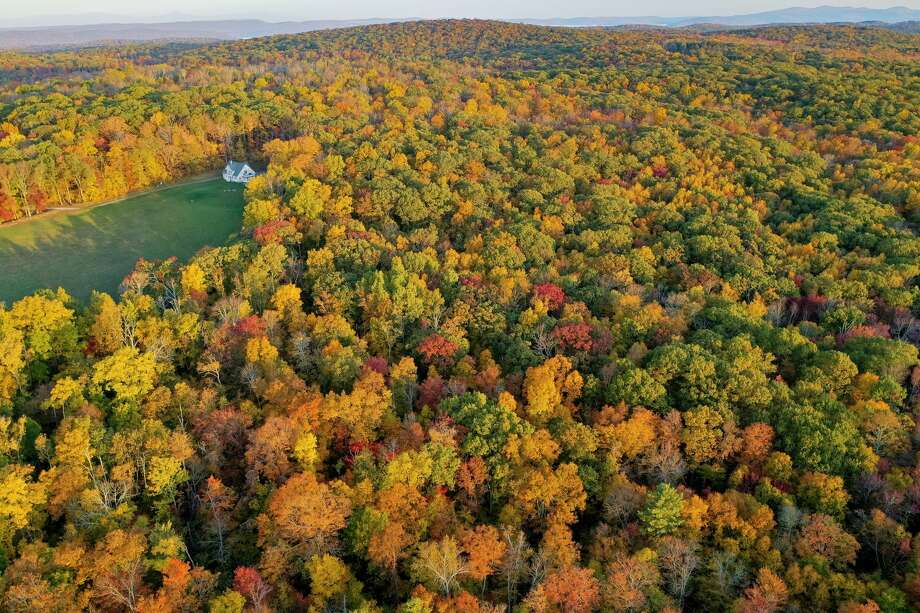 An aerial view of fall foliage in Kent on Oct. 15, 2020. Photo: Patrick Sikes