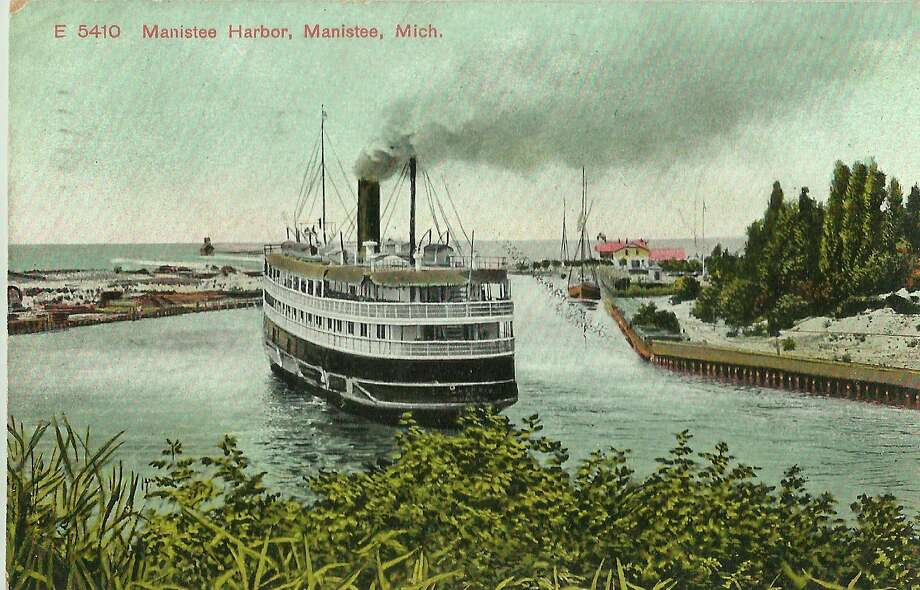 This shows a passenger steamer as it leaves the Manistee harbor circa 1890. (Manistee County Historical Museum photo)