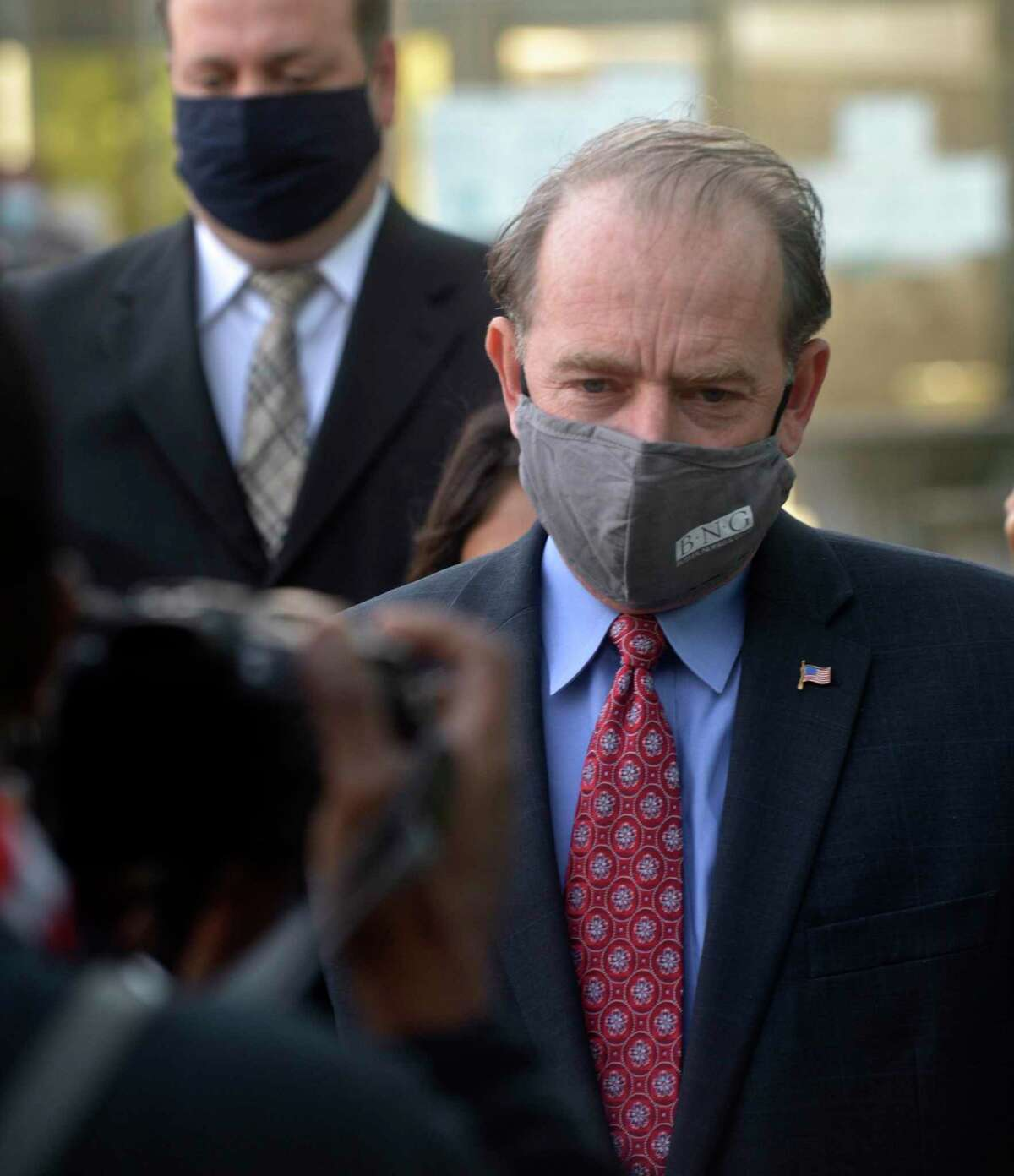 Kent Mawhinney, the attorney charged in the Jennifer Dulos case, was released on bond Monday. He was brought to the Superior Court, in Stamford, Conn, where he posted bond and was fitted with a GPS monitor. Monday, October 19, 2020.