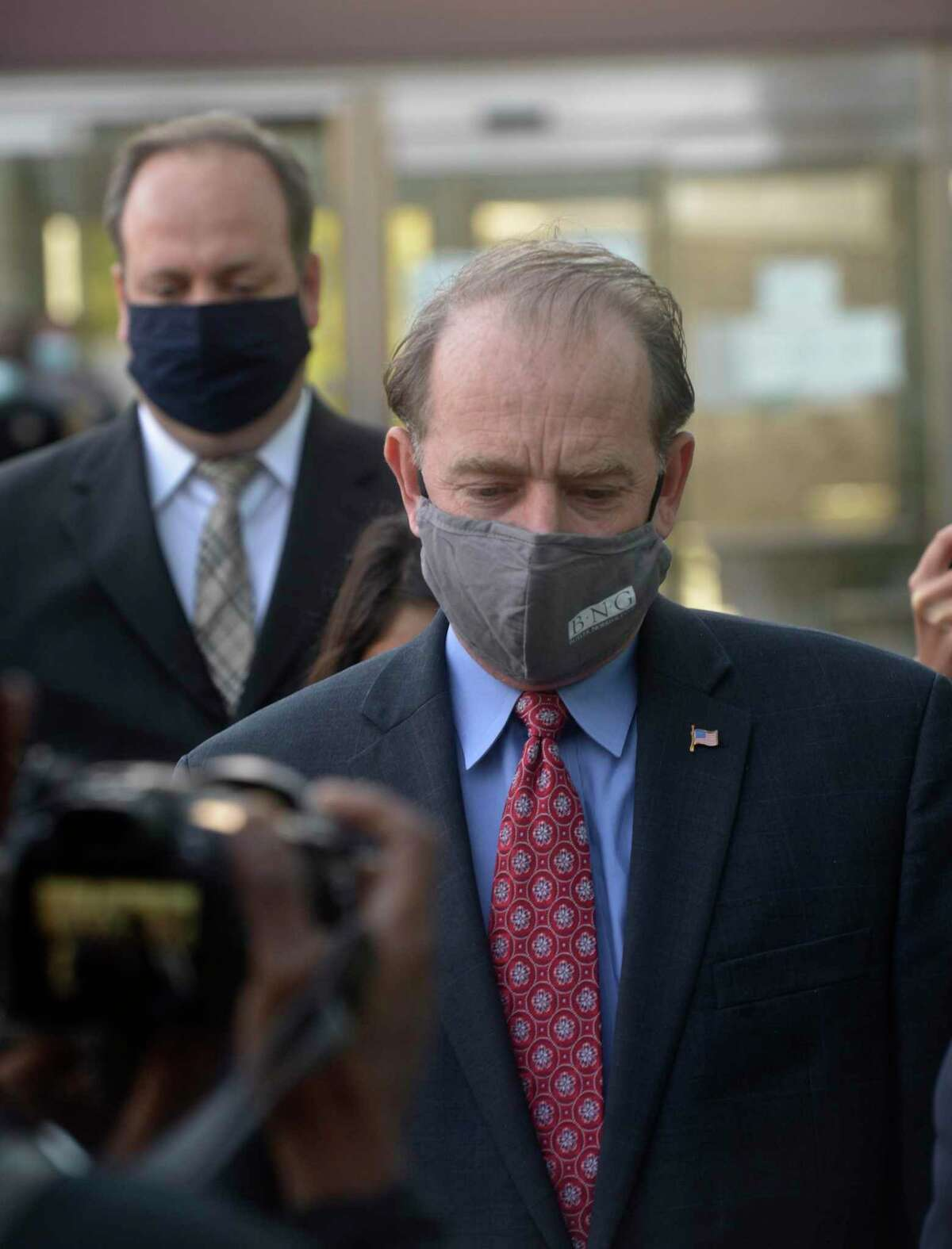 Kent Mawhinney, the attorney charged in the Jennifer Dulos case, was released on bond. He was brought to the Stamford Courthouse where he posted bond and was fitted with a GPS monitor. Monday, October 19, 2020, Stamford, Conn.