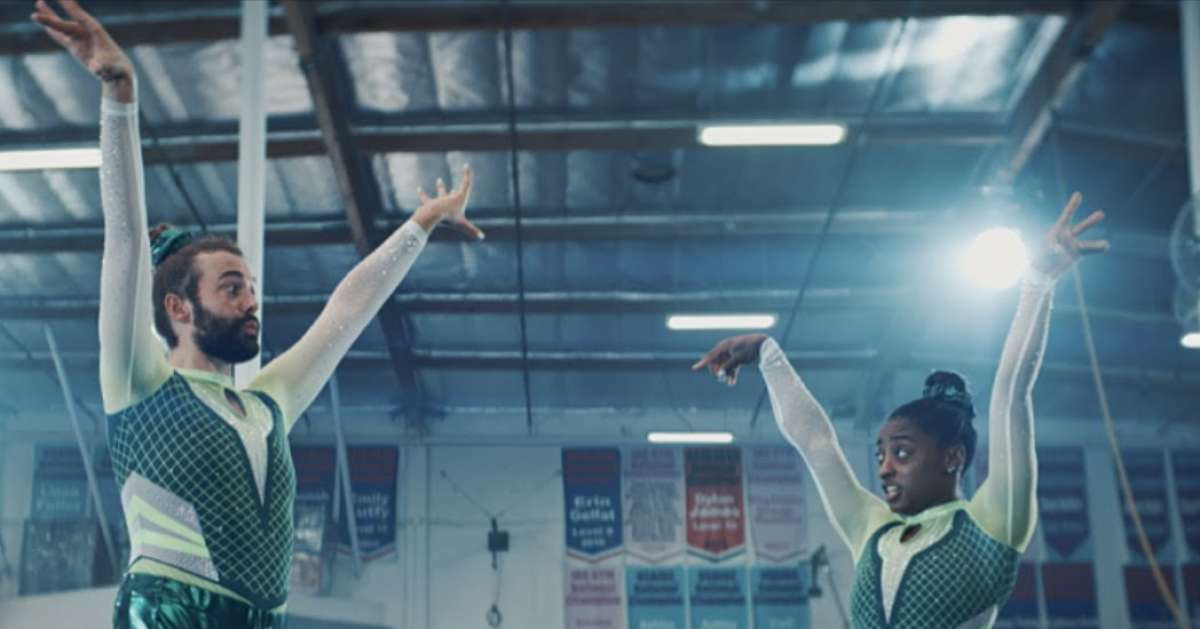 Simone Biles and Jonathan Van Ness team up for a hilarious new Uber Eats ad.