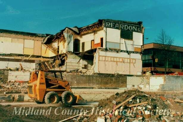 Demolition of the Reardon block to make way for Riverside Place in 1990. (Photo provided)