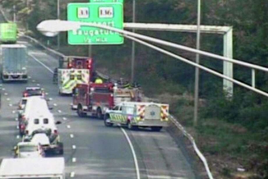 A crash on Interstate 95 north in Norwalk, Conn., on Monday, Oct. 19, 2020. Photo: Contributed Photo / CTDOT