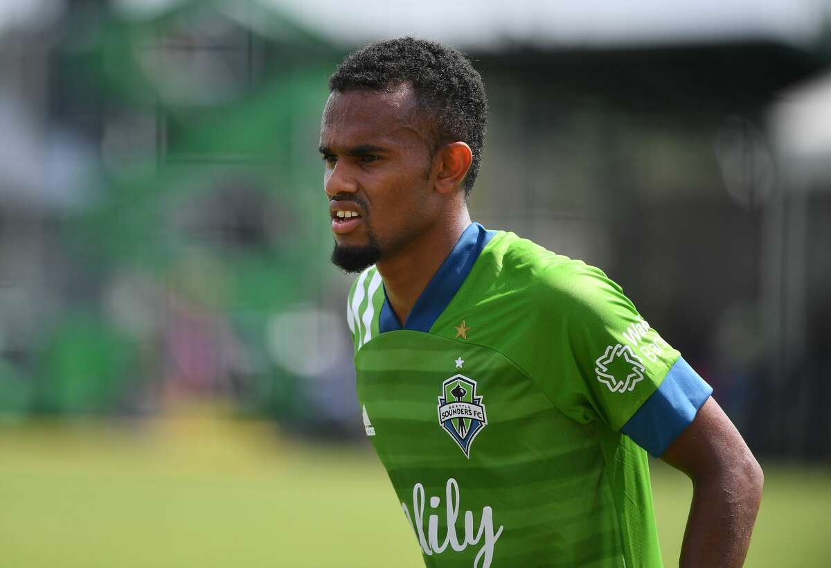 REUNION, FLORIDA - JULY 14: Handwalla Bwana #70 of Seattle Sounders looks on during a Group B match between Seattle Sounders FC and Chicago Fire FC as part of MLS is Back Tournament at ESPN Wide World of Sports Complex on July 14, 2020 in Reunion, Florida. (Photo by Mark Brown/Getty Images)