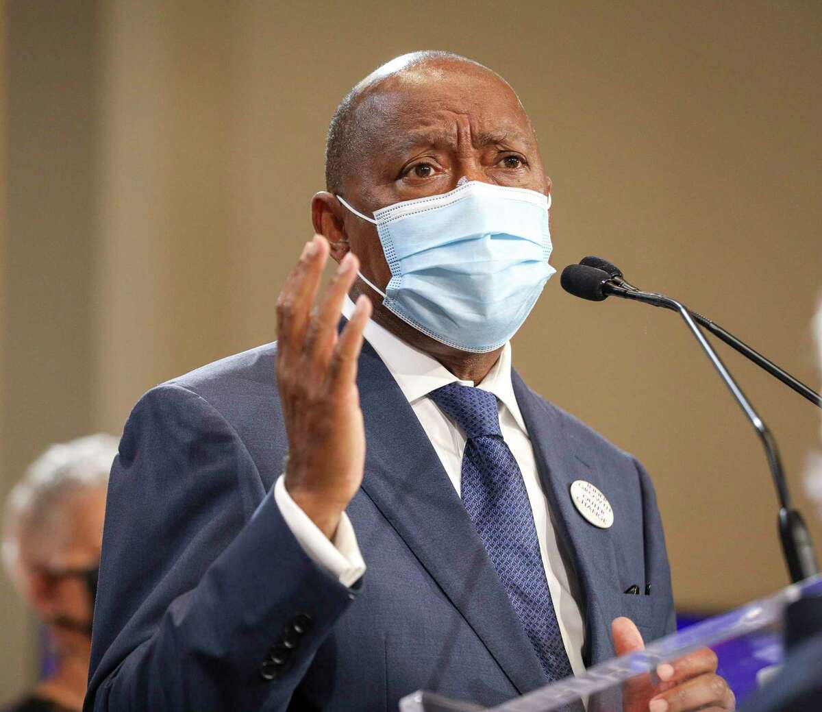 Houston Mayor Sylvester Turner speaks during a press conference to announce the recommendations of the Mayor's Task Force on Policing Reform on Wednesday, Sept. 30 2020, at city hall in Houston.