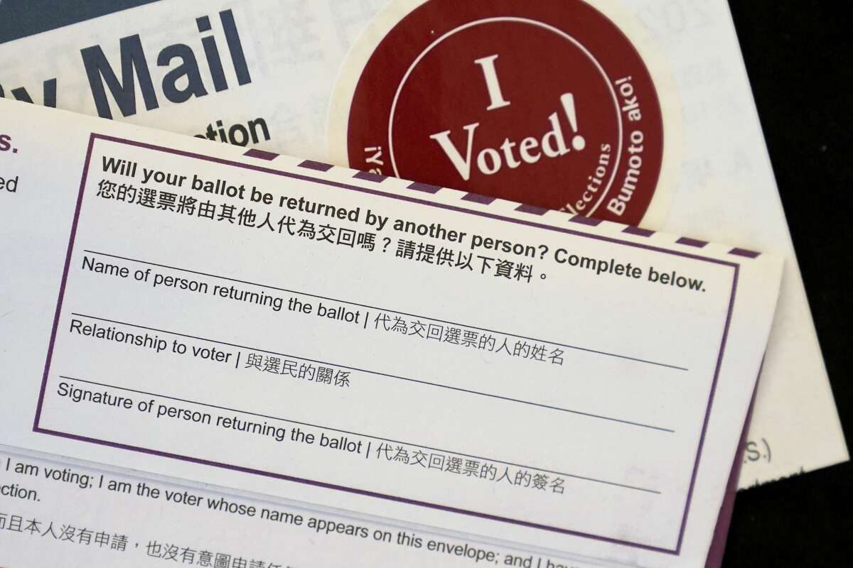 The portion of an envelope of California voter's ballot where the voter would have to authorize another person to deposit it on their behalf is shown in San Francisco, Saturday, Oct. 17, 2020.