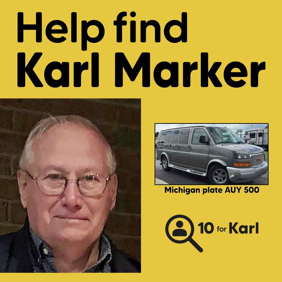 """Pictures of 88-year-old Kochville Township resident Karl Marker, who was reported missing on Sept. 17, and his 2011 GMC Savannah van were provided as part of the """"10 for Karl"""" search campaign. (Photo provided/ Alisha Toyzan)"""