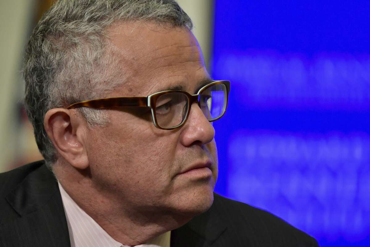 FILE: Jeffrey Toobin at a discussion on gerrymandering and its impact on the American politcal system at the Edward M. Kennedy Institute for the United States Senate on May 30, 2018 in Boston.
