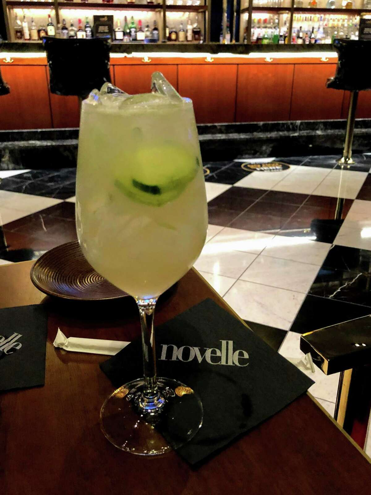 A drink at the socially distanced bar area of Novelle in Mohegan Sun, where Big Lux will be performing.