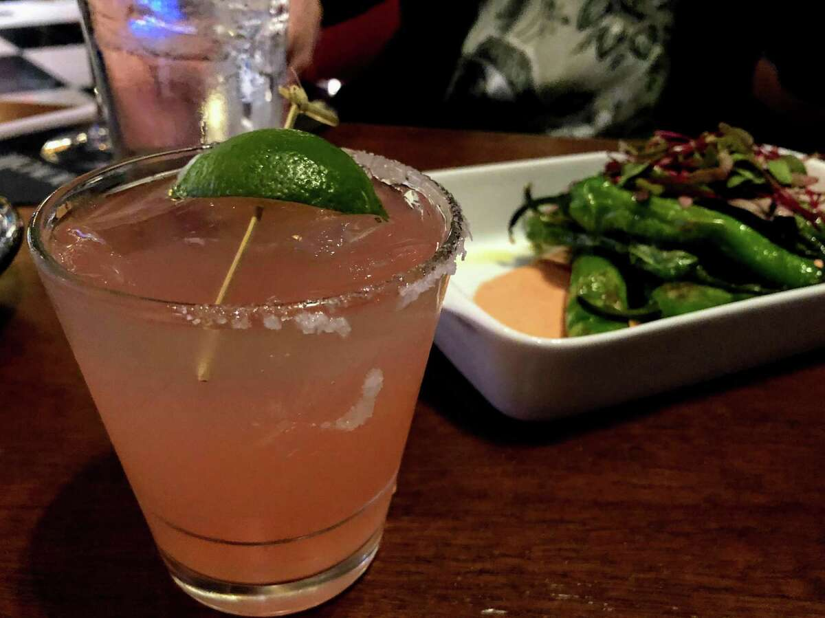 Tequila Mockingbird cocktail and the appetizer Blistered