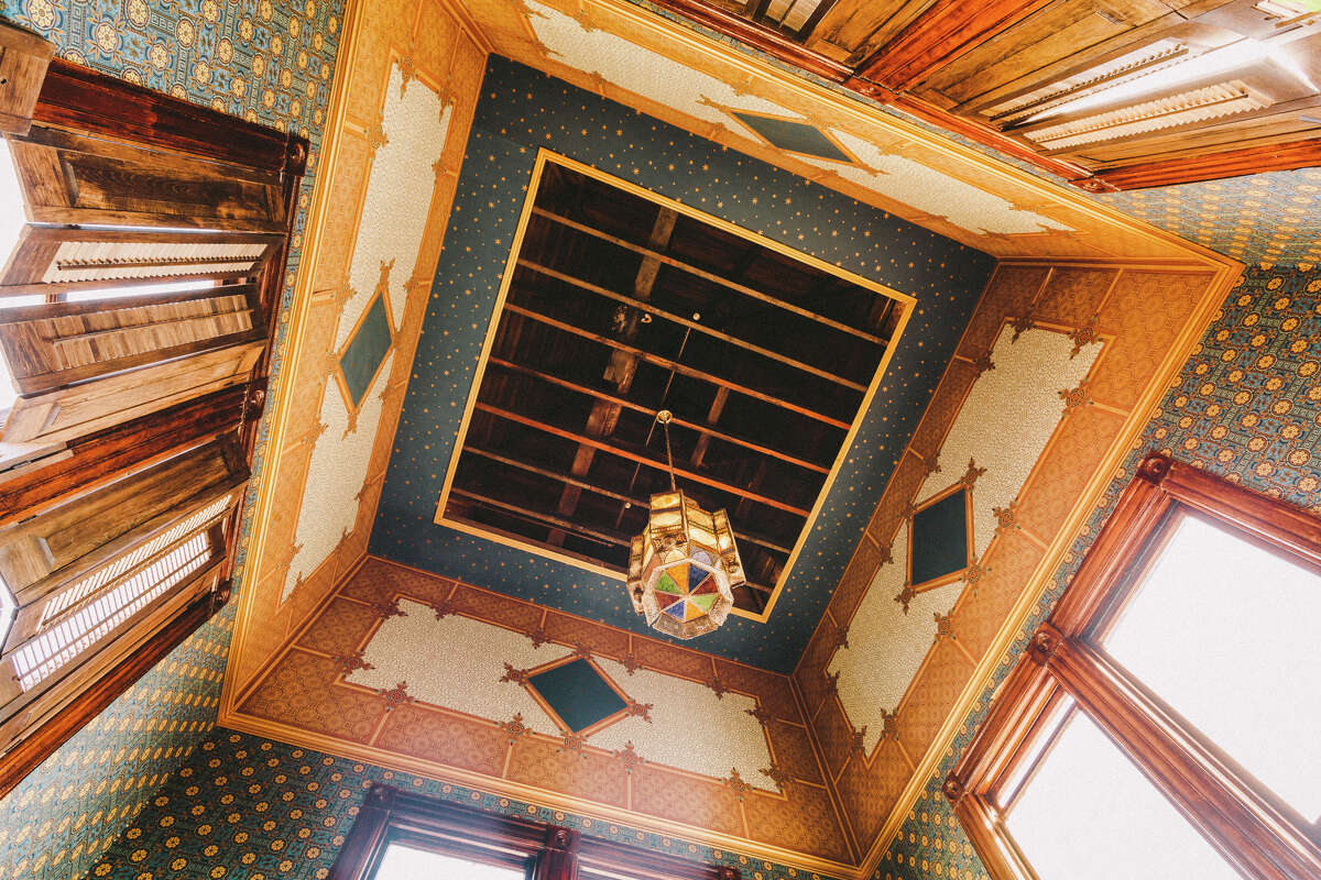 The rafters in the tower of the Westerfeld House.