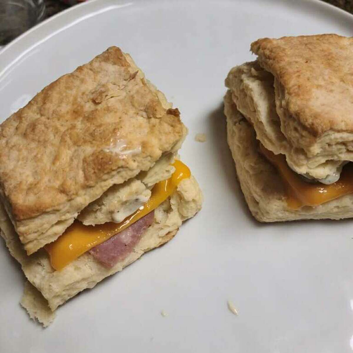 My boyfriend and I made biscuit sandwiches with country ham, cheese and pickles.