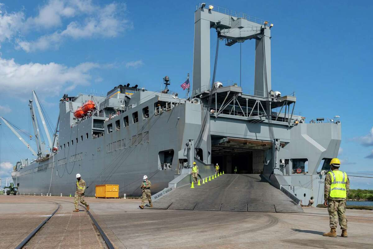 Soldiers disembark from the USNS Frazier. If you're seeing a lot of soldiers and Army vehicles, on the streets of Port Arthur, do not be alarmed. About a thousand soldiers of The 7th Transportation Brigade (Expeditionary) of the US Army also known as the