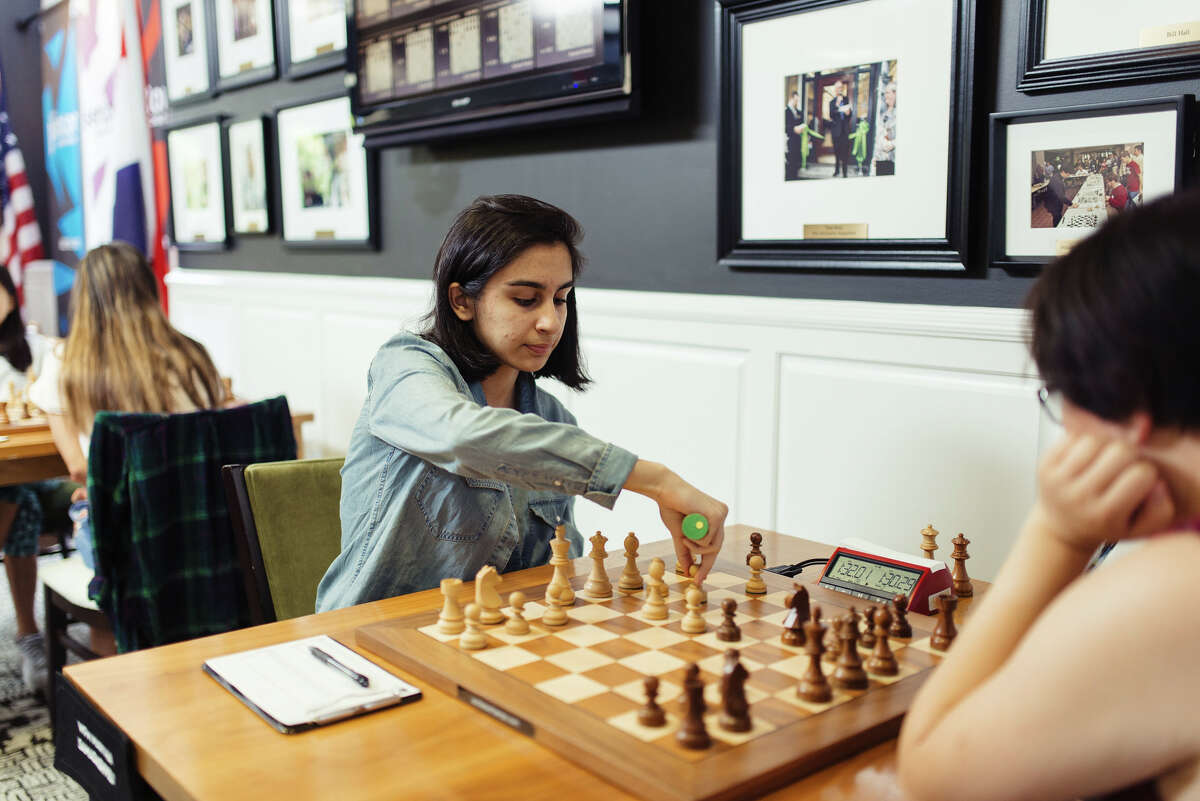 Woman FIDE Master Martha Samadashvili playing in 2019 U.S. Juniors & Senior Championships Round 1. Photo Courtesy of Saint Louis Chess Club_Crystal Fuller)
